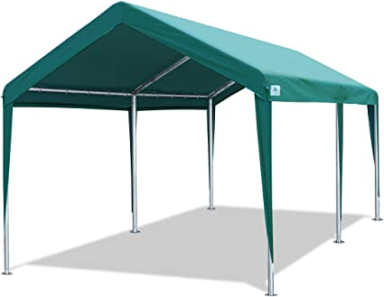 Amazon Com 10 X 20 Ft Heavy Duty Carport Car Canopy Garage Boat Shelter Party Tent Adjustable Height From 6 5ft To 8 0ft Green Garden Outdoor