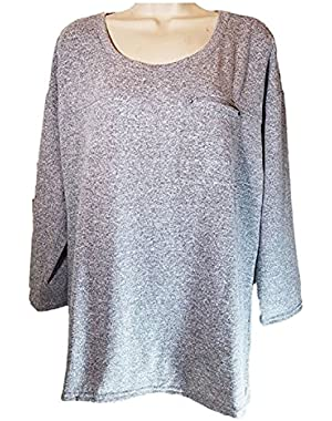 Womens 3/4 Sleeve Crew Neck Pullover Pocket Top, Medium