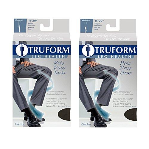 Truform Men's Knee High 15-20 mmHg Compression Dress Socks,