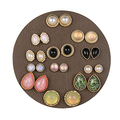 Royal Amoyy 12 Pairs Assorted Boho Stud Earrings Set Bohemian Ear Piercing Jewelry Vintage Round Beads Earring for Women and Girls