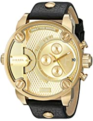 Diesel Mens DZ7363 Little Daddy Gold Black Leather Watch
