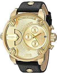 Men's DZ7363 Little Daddy Gold Black Leather Watch