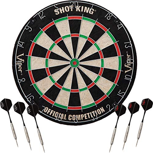 (Viper Shot King Regulation Bristle Steel Tip Dartboard Set with Staple-Free Bullseye, Metal Radial Spider Wire, High-Grade Compressed Sisal Board with Rotating Number Ring, Includes 6 Steel Tip Darts)