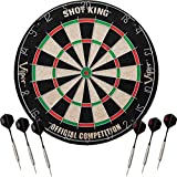 Shot King Regulation Bristle Steel Tip Dartboard Set with Staple-Free Bullseye, Metal Radial Spider Wire, High-Grade Compressed Sisal Board with, Includes 6 Steel Tip Darts
