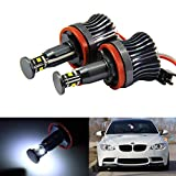 iJDMTOY® 7000K White 10W High Power H8 LED Angel Eyes for BMW 128i 135i 1M 328i 335i M3 535i 550i M5 Z4 X1 X5 X6