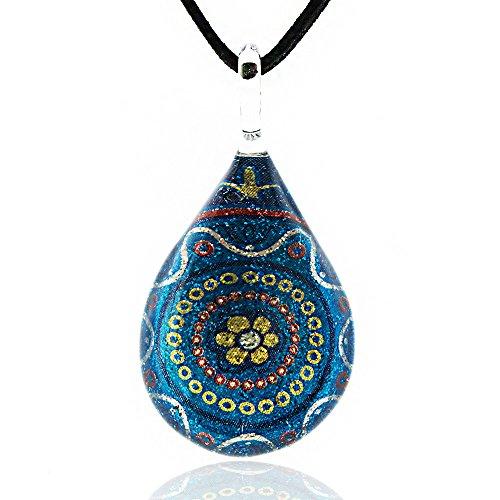 Chuvora Hand Blown Venetian Murano Glass Multi-Color Blue Flower Mandala Art Pendant Necklace, 17-19 inches