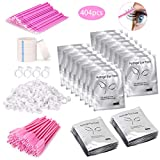 Eyelash Extension Supplies 4x100 Packs - Beauty Star 100 Pairs Under Eye Gel Pads, 100 Disposable Mascara Brushes Wands, 100 Micro Applicators Brush, 100 Glue Ring Holder, 4 Medical Tapes
