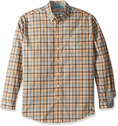 Cinch Men's Classic Fit Long Sleeve Button One Open Pocket Plaid Shirt, Orange/Brown, XL