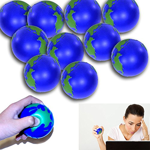 12 Pack Globe Stress Ball - Globe Stress Relief Activity Balls 12 Pack | Pressure Relieving Health Ball 12 PK | Therapeutic Relaxing Tension Release Squeeze Ball Set of 12 for All Ages (Treatment Stress Relieving)
