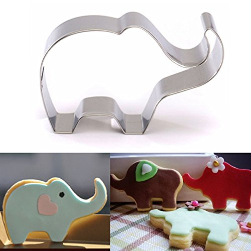 Works 4 Peanuts Elephant Baby Costumes (Bakeware & Accessories - Stainless Steel Elephant Animal Cookie Cutter Cake Biscuit Pastry Mould Mold - Elephant Cookie Cutter Baby Shower 5 Inch 3 4 Set Fondant Cookies Molds Mold Large - 1PCs)