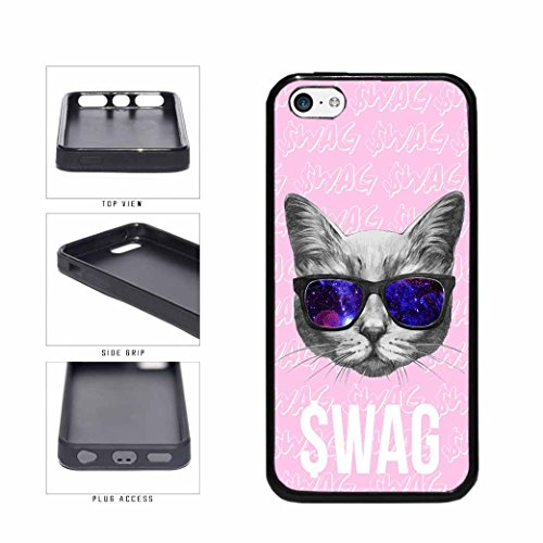 BleuReign(TM) Universal Swag Cat With Fox Fur Nebula Sunglasses TPU RUBBER Phone Case Back Cover Apple iPhone - Moon Sun Sunglasses And