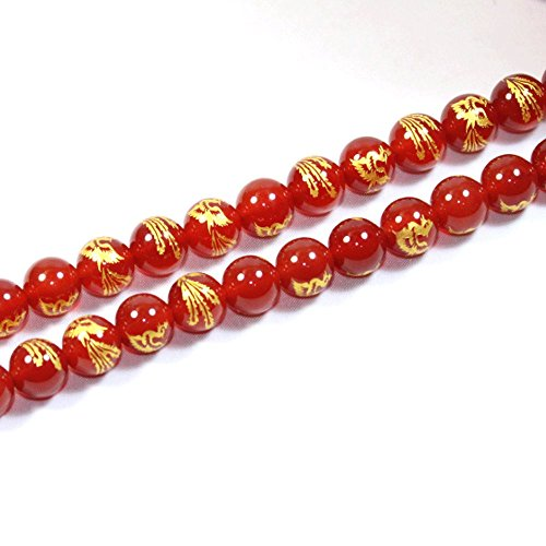 Gemstone Rare Beads - JARTC Rare Collection Natural Red Agate Carved Phoenix Pattern Round Loose Beads for Jewelry Making DIY Bracelet Necklace (10mm)