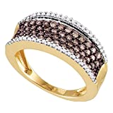 Brown Diamond Fashion Band Solid 10k Rose Gold Cocktail Ring Wide Chocolate Round Cluster Fancy 3/4 ctw