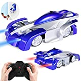 Remote Control Car, Kid Toys for Boys Girls, Wall Climber Car for Kids Birthday Present with Mini Control LED Light, Dual Mode 360° Rotating Stunt Car (Blue)