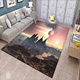 Fantasy Door Mats for Inside Twin Moons Over Planet Europa Apocalypse Armageddon Deserted Landscape Bath Mat for tub Bathroom Mat Blush Yellow Dark Brown