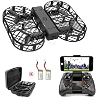 WIFI FPV Drones with 720P HD Camera DWI Dowellin Foldable Drone with Altitude Hold and One Key Take Off Landing RC Quadcopter with 2 pcs 3.7V 380mAh Lipo Batteries D7 Black