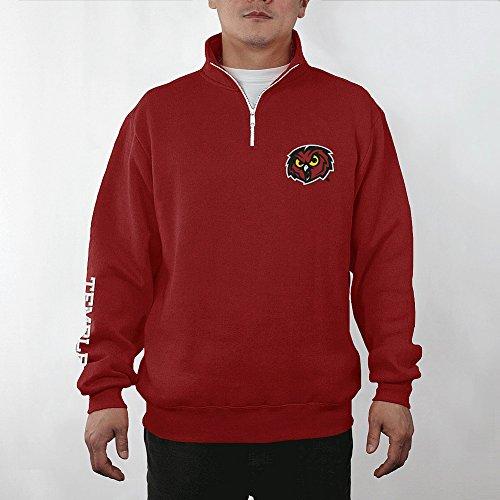 - Elite Fan Shop Temple Owls Quarter Zip Sweatshirt Captain Cherry - XXL