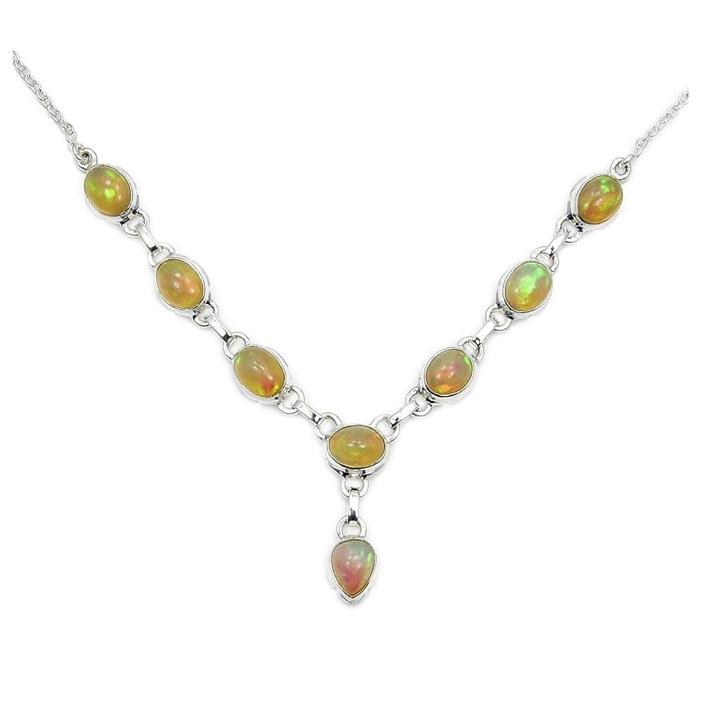 Captivating Rare Sterling Silver Fire Ethiopian Opal Y-shaped Necklace