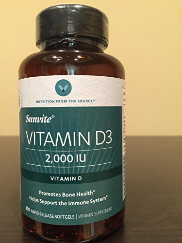 Vitamin World Sunvite Vitamin D3 2000 IU 250 Rapid Release Softgels