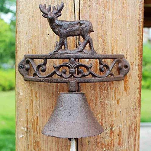 LRW European-Style American Pastoral Retro Iron Elk Doorbell, Cast Iron Bell Manual Garden Doorbell ()
