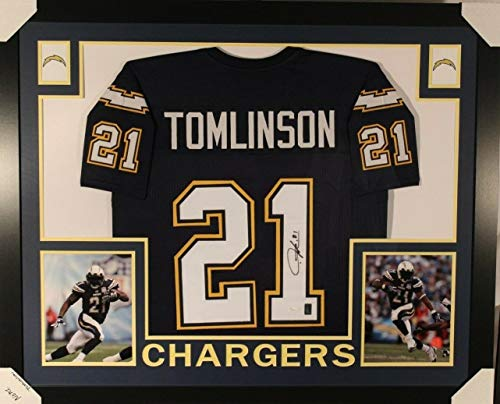 (Ladainian Tomlinson Framed Autographed Signed Autograph Chargers Jersey With JSA Authentic Witnessed Coa)