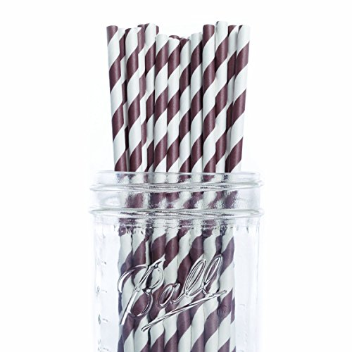 Dress My Cupcake 25-Pack Vintage Paper Cakepop Straws, 6-Inch, Chocolate Brown Striped