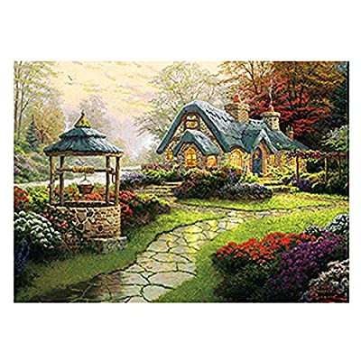 FeiFei66 500 Piece Jigsaw Puzzle for Adult Children - Manor/Dawn/Forest Hut Underwater World/Violin Recital/Snow Mountain Cherry Blossoms Pagoda - Landscape Puzzle Puzzle Toy (A): Sports & Outdoors