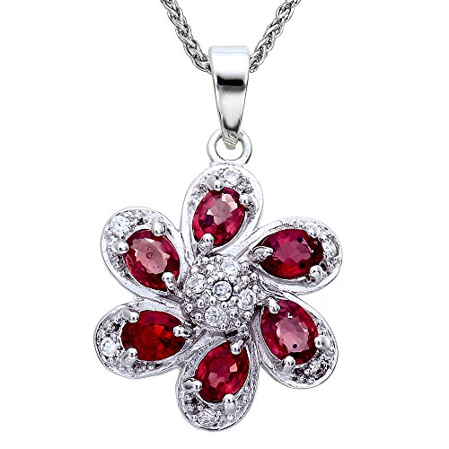 Sterling Silver Red Sapphire Pendant (1 CT) With 18 Inch Chain