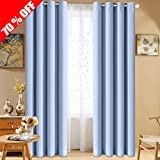 Cheap Fairyland Blackout Curtains and Drapes, Thermal Draperies Insulated Grommet Panels for Bedroom and Living Room (One Pair, 52 by 95 inch, Blue)