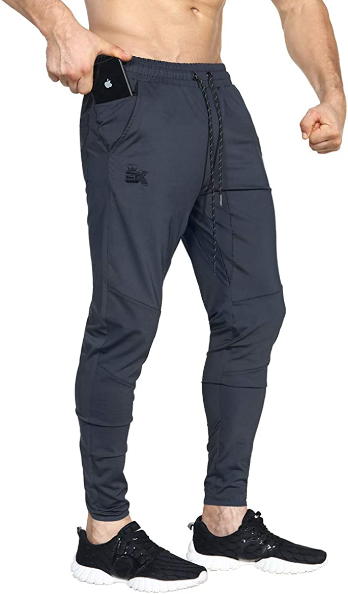 BROKIG Mens Lightweight Gym Jogger Pants, Men's Workout Sweatpants with Zip Pocket at  Men's Clothing store