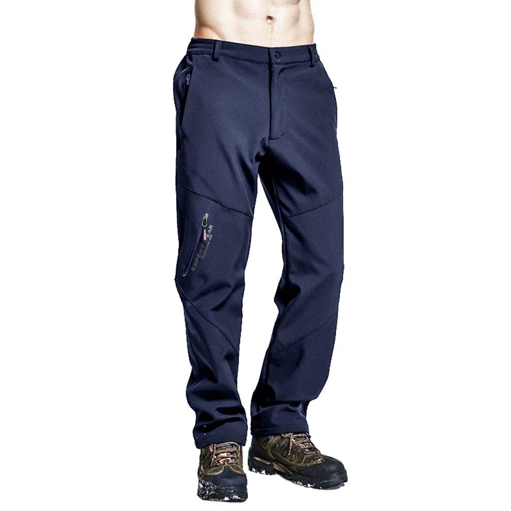 984634b3ae12f Zhiyuanan Homme Hiver Chaud Polaire Doublé Softshell Pantalons en Plein Air  Coupe-Vent Résistant De Montagne Randonnée Neige Ski Pantalon avec Taille  ...