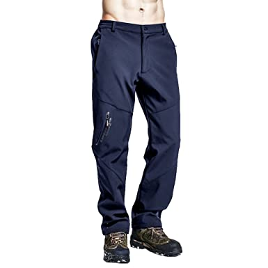 a24027415b7 Zhiyuanan Men s Winter Warm Fleece Lined Softshell Pants Outdoor Windproof Water  Resistant Mountain Hiking Snow Ski Trousers with Elastic Waist  ...