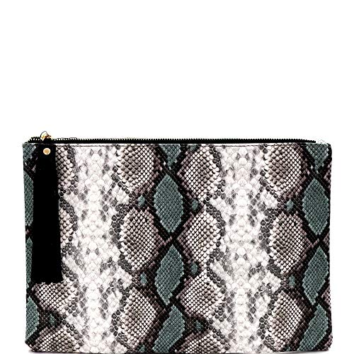 Snake Print Soft PU Leather Envelope Clutch Bag with Crossbody Chain Strap (Zip-top Oversize Tassel Clutch - -