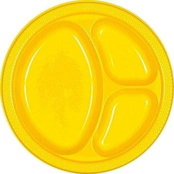 Reusable Divided Party Plates Tableware Yellow Sunshine Plastic  10  ...  sc 1 st  Amazon.com & Amazon.com: Reusable Party Round Divided Plates Tableware Navy Flag ...