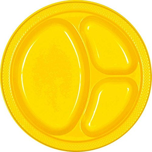 Reusable Divided Party Plates Tableware, Yellow Sunshine, Plastic , 10'', Pack of 20