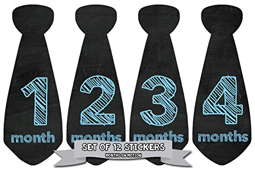 Months in Motion 762 Monthly Baby Stickers Necktie Tie Baby Boy Months 1-12 Chalkboard