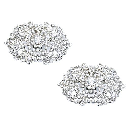 ElegantPark CJ 2 Pcs Shoe Clips Spider Design Wedding Party Accessories Decoration Silver