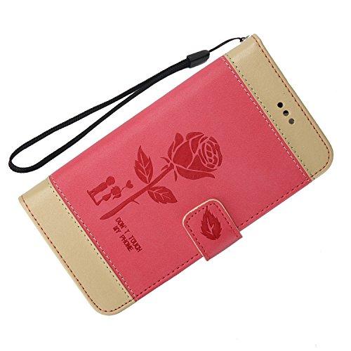 Olyee Galaxy A710 hülle, Leder PU Cover Magnet Flip Hülle Schutzhülle Kartensteckplätzen und Ständer Handytasche für handyhülle Galaxy A710 Red