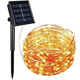 SRYP Solar Powered String Lights 12m/33ft 8 Modes Solar Fairy String Lights Waterproof Copper Wire Starry String Lights for Christmas Tree, Garden, Home, Patio, Wedding, Party Decoration (Warm White)