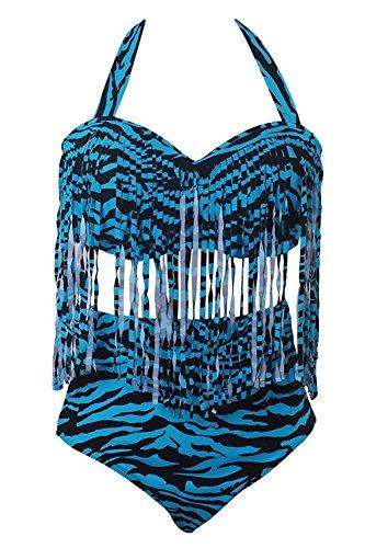 Spring Fever Women's Retro High Waist Braided Fringe Bikini Swimwear Plus Size Green Zebra 2XL (US: 12-14) - 2 Piece Zebra Bikini