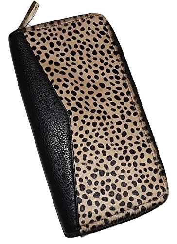 en's Leather Zip Passport Card Case Travel Wallet Cheetah (Leather Multi Currency Passport Case)