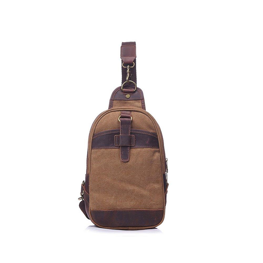 Havanadd Herren Brusttasche aus Segeltuch im Retro-Stil, mit Reißverschluss, Farbe: Khaki