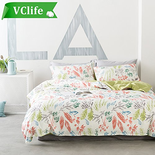VClife Floral Bedding Sets Girls Women Queen Duvet Cover Sets Cotton Bedding Collection, Gift for Valentine's Day, Queen (Womens Duvet)