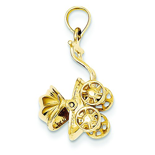 14K Yellow Gold Baby Carriage Charm Pendant