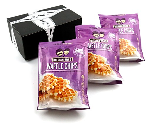 Belgian Boys Waffle Chips, 4.23 oz Packages in a BlackTie Box (Pack of 3) by Black Tie Mercantile