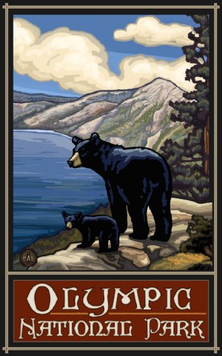 Northwest Art Mall Olympic National Park Lake Bears Unframed Poster Print by Paul A. Lanquist, 11-Inch by - Mall Lakes
