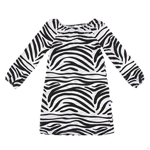 (Kickee Pants Little Girls Print Long Sleeve Peasant Dress, Natural Zebra Print, 2T )