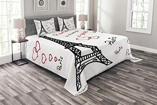 Ambesonne Eiffel Tower Bedspread, Eiffel Tower Paris is Always an Idea Tourism Locations Love, Decorative Quilted 3 Piece Coverlet Set with 2 Pillow Shams, Queen Size, Red Black