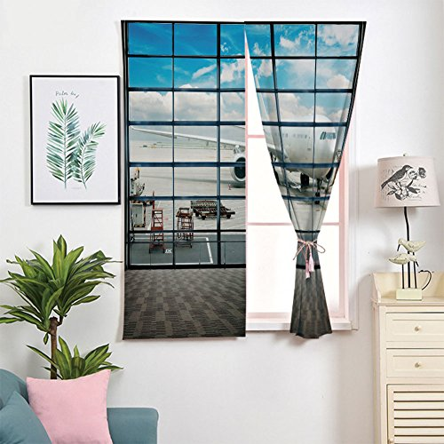 iPrint 3D Blackout Window Curtains,Free Punching Magic Stickers Curtain Portable,Paste Style,with Big Jet Plane Wanderlust Traveller Photo,2 Panels,for Living Room