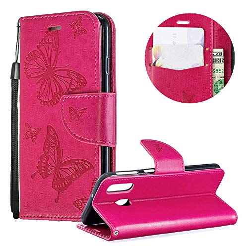 Price comparison product image Samsung Galaxy A40 Case, PU Leather Wallet Case for Samsung Galaxy A40, Moiky Luxury Rose Red Butterfly Pattern Embossed Soft Leather Purse Flip Magnetic Stand Shockproof Case Cover with Card Slots